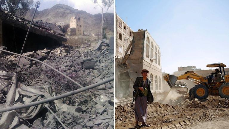 Vänster: det som är kvar av flygangreppet mot sjukhuset i Jemen. Höger: En Houthirebell som står framför ett hus som förstörts av ett Saudiledd flyangrepp. Foto: TT.