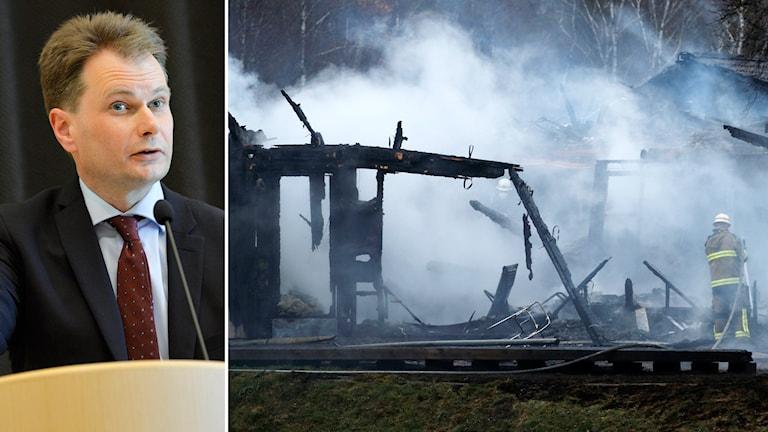 Johan Sjöö på Säpo som bland annat utreder branden på ett asylboende utanför Munkedal. Foto: Henrik Montgomery/TT och Adam Ihse/TT