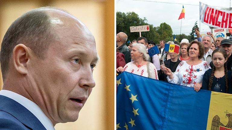 Valeriu Strelets regering fälls. Tidigare har stora protester pågått i Moldavien. Foto: Vitalie Plotnic, Antoine Delaunay / AP / TT