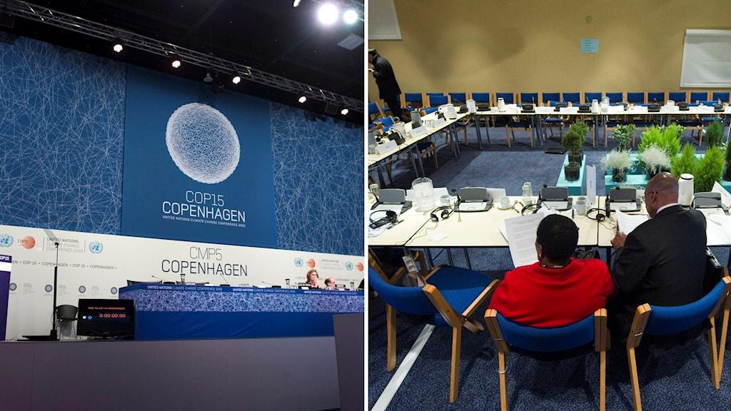 Panel inför stor symbol för COP15. Två delegater kvar vid stort förhandlingsbord omringat av tomma stolar. Foto: Henrik Montgomery/TT.