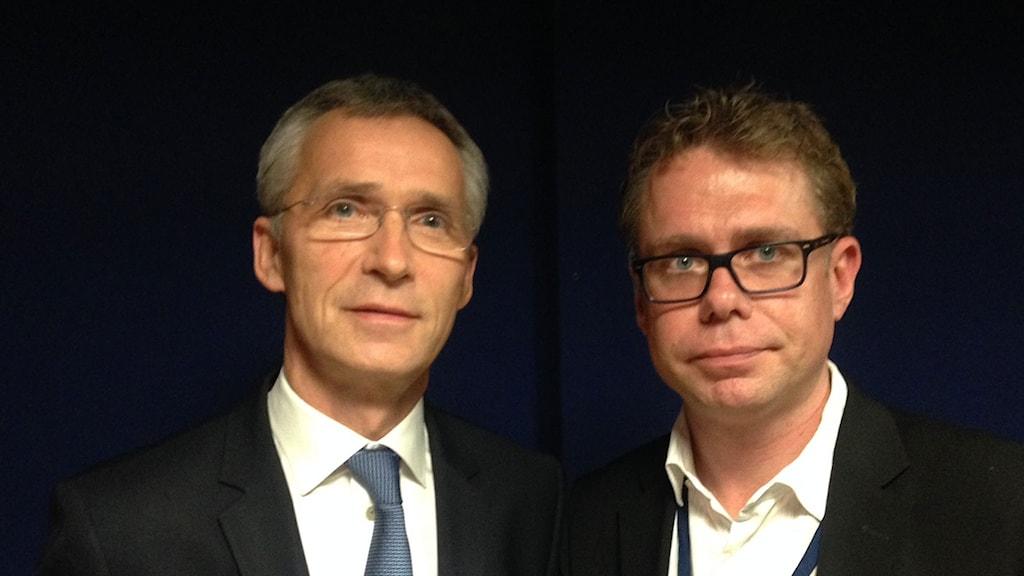 Natos generalsekreterare Jens Stoltenberg och Ekots reporter Jan Andersson. Foto: Sveriges Radio.