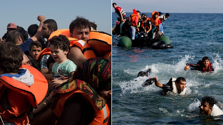 Flyktingar på väg till Europa. Foto: Petros Giannakouris/AP