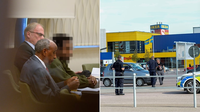 Den åtalade i rätten och bild på parkeringen utanför Ikea efter attacken. Foto: Pontus Lundahl/TT, Fredrik Sandberg/TT