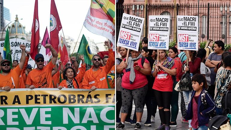 fackliga demonstrationer i brasilien och i argentina