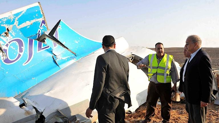 Representanter för den Egyptiska regeringen inspekterar vrakrester i Sinaiöknen. Foto: Suliman el-Oteify
