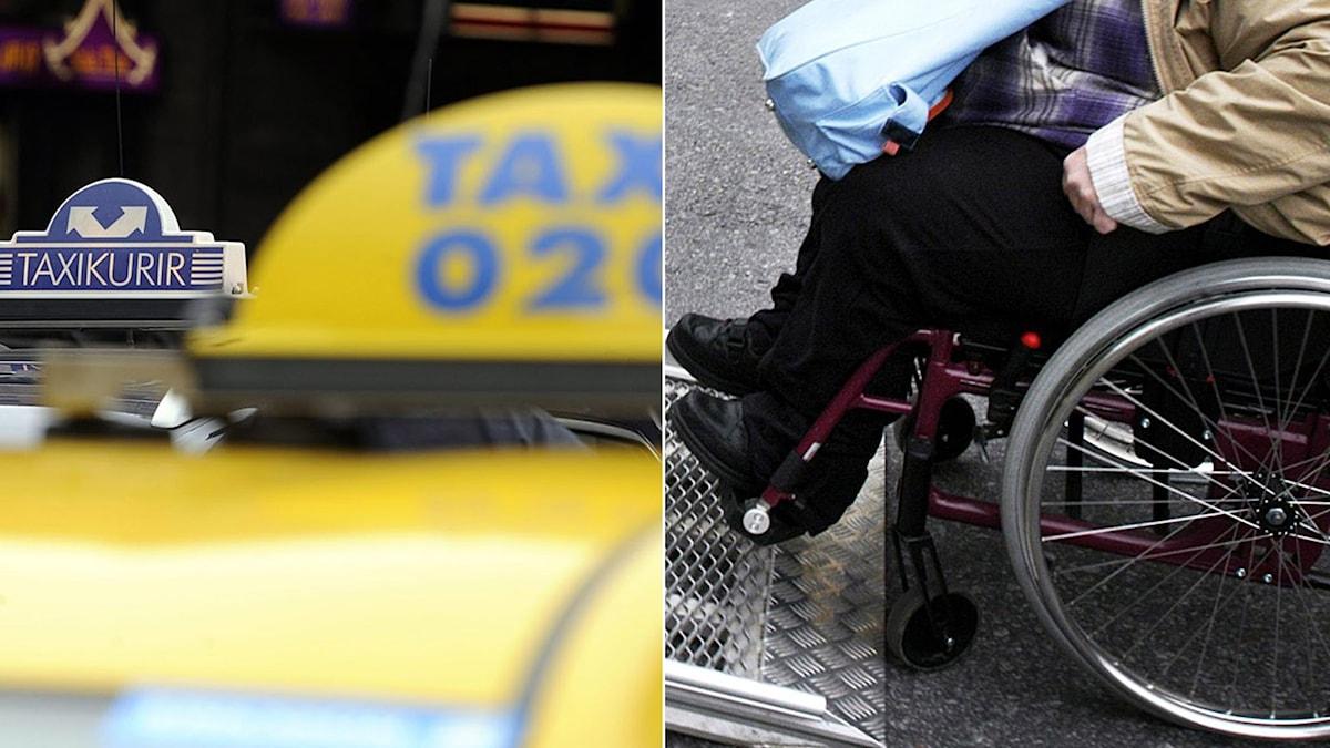 Taxibilar och person i rullstol på väg upp för en ramp in i färdtjänstbil. Foto: Bertil Ericson/TT, Malin Hoelstad/TT.