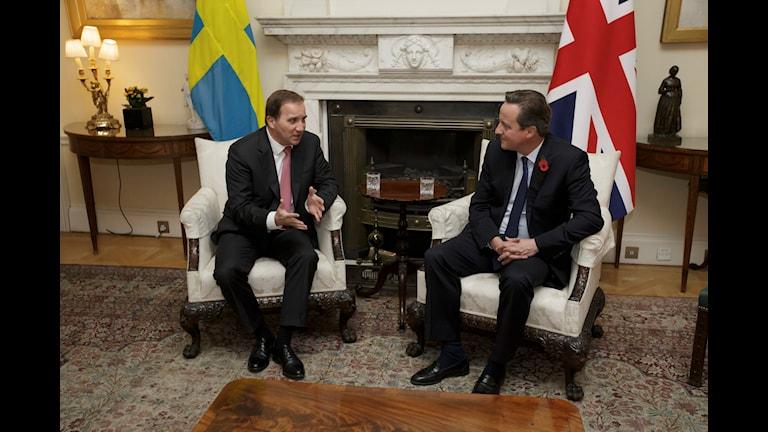 Stefan Löfven och David Cameron. Foto: Tim Ireland/AP