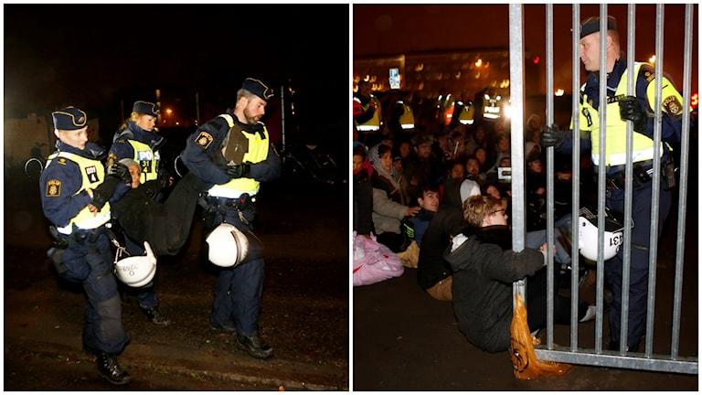 Tidigt på tisdagsmorgonen inledde polisen en insats för att tömma EU-migrantlägret på Industrigatan i Malmö. Foto: Drago Prvulovic /TT.
