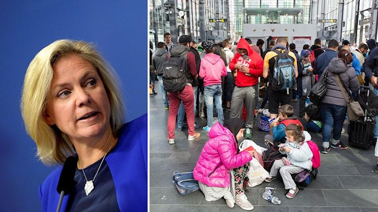 Magdalena Andersson och flyktingar på Malmös centralstation