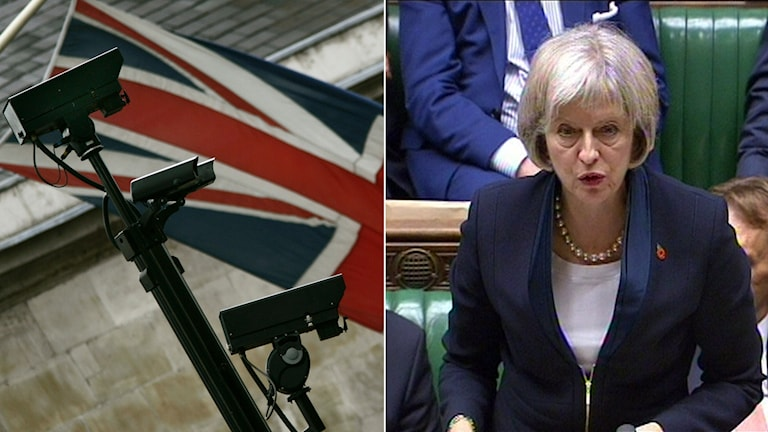 Storbritanninens flagga och inrikesminister Theresa May. Foto: Lefteris Pitarakis/AP, AP