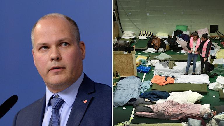 Migrationsminister Morgan Johansson. Foto: Jessica Gow/TT och Anders Wiklund/TT