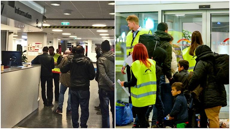 Registering their asylum applications. Photo: Maria Turdén/Sveriges Radio och TT.