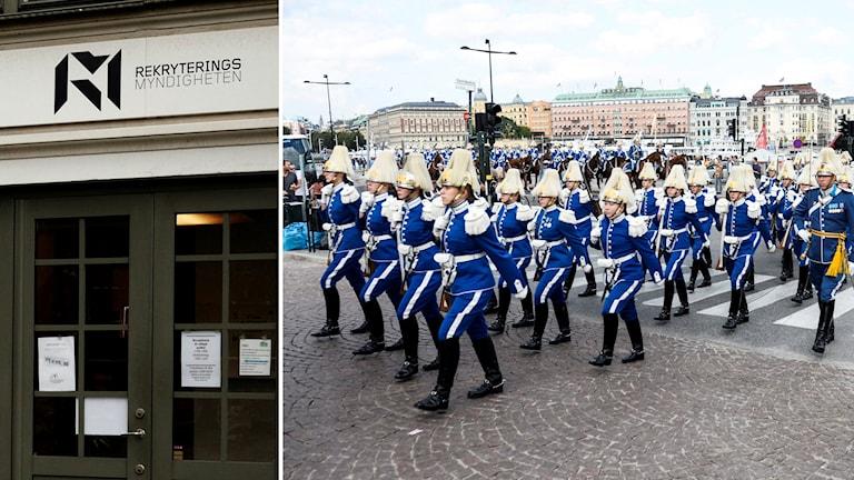 Skylt över dörr: Rekryteringsmyndigheten. Uniformerad militär i parad. Foto: Johannes Ledel/Sveriges Radio & Fanni Olin Dahl/TT.