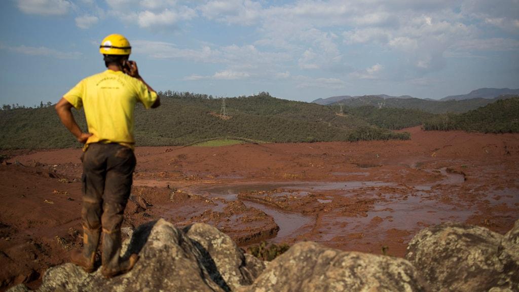 En räddningsarbetare ser ut över förödelsen i den dalgång där samhället Bento Rodriguez ligger begravt under lermassorna. Foto: Felipe Dana/TT