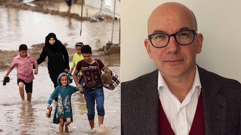 Flyktingar i Irak och ICRC:s generalsekreterare Yves Daccord. Foto: TT och Sveriges Radio.