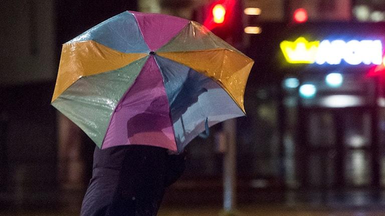 Person med paraply tar sig fram i stormen. Foto: Johan Nilsson/TT
