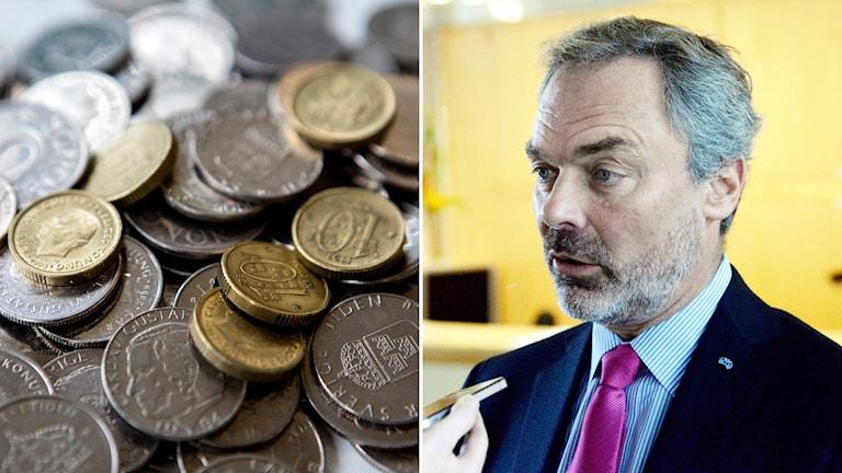Delat bild, till vänster: mynt. Till höger: Jan Björklund. Foto: Jacob Stephenson/TT, Christine Olsson/TT