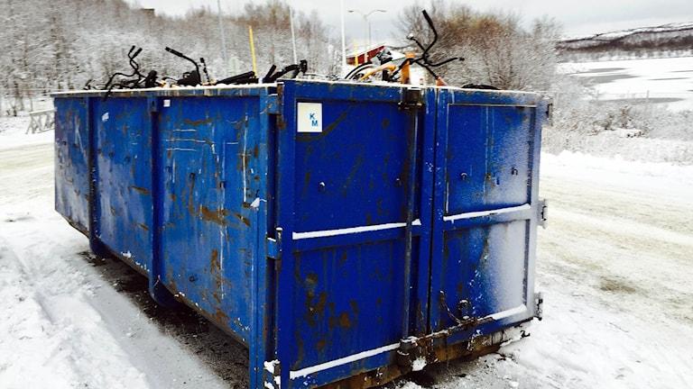 Kasserade cyklar vid norska gränsen. Foto: Jens Möller/Sveriges radio