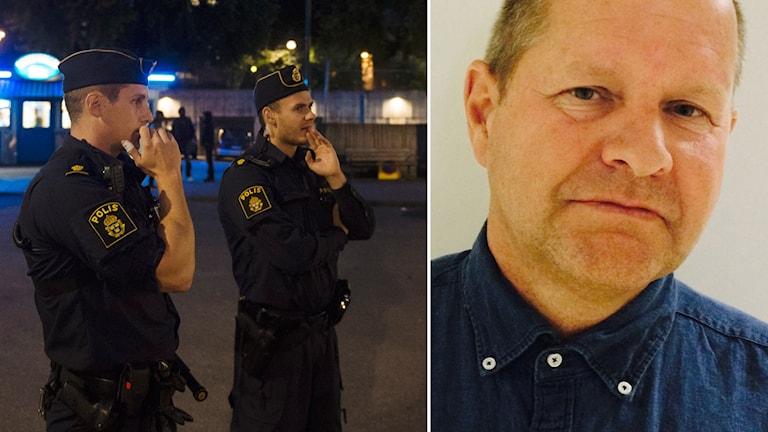 Två poliser på ett torg och rikspolischefen. Foto: Vilhelm Stokstad/TT och Karin Wettre/Sveriges Radio