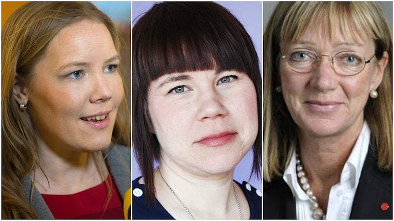 Socialskottets ordförande, kristdemokraten Emma Henriksson, RFSU:s ordförande Kristina Ljungros och Anna-Lena Sörenson, socialdemokrat och vice ordförande i socialutskottet. Foto: TT.