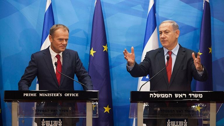 Israeliska premiärministern Benjamin Netanyahu och EU-kommisionens Donald Tusk vid ett möte i Jerusalem tidigare i år.