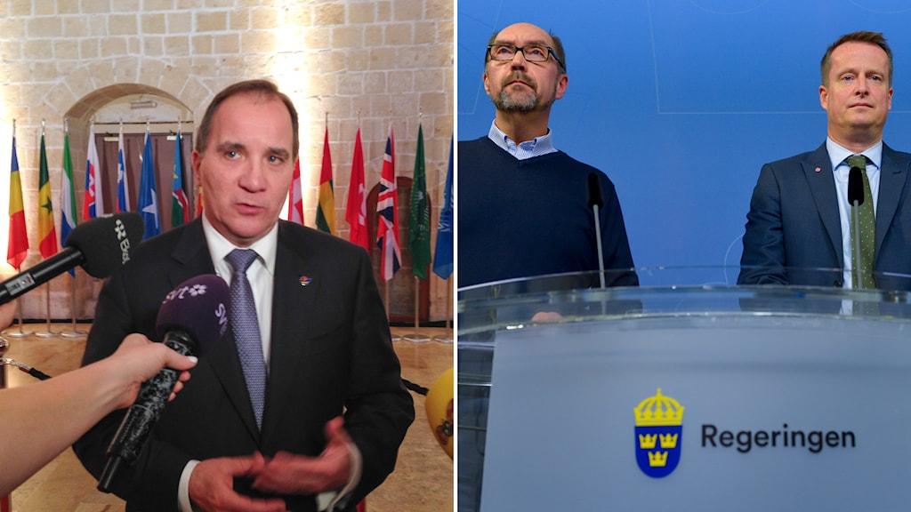 Statsministern vid en pressträff på Malta, och Migrationsverkets Mikael Hvinlund, och inrikesministern Anders Ygeman. Foto: TT.