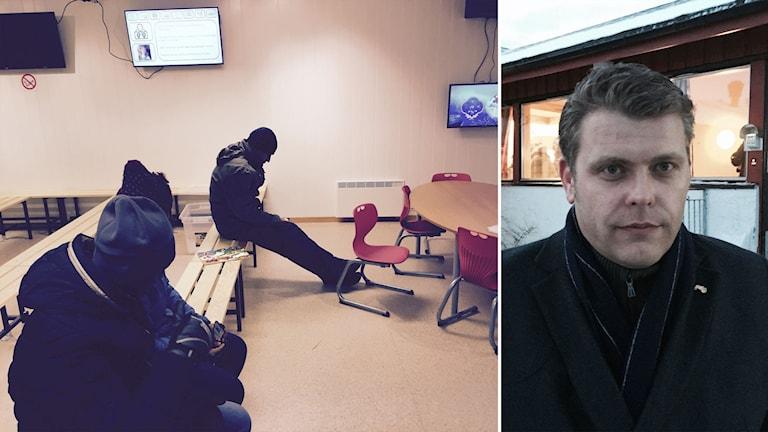 Asylsökande som väntar i ett väntrum och Jöran Kallmyr.