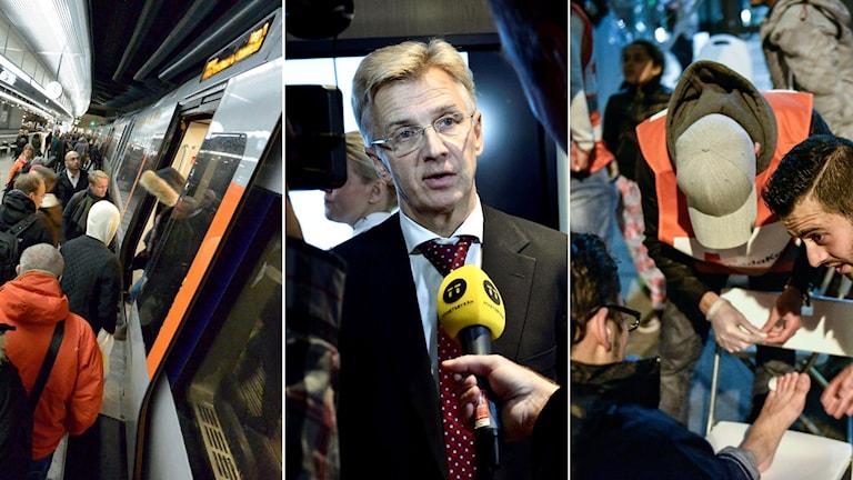 Migrationsverkets generaldirektör Anders Danielsson var under torsdagen på plats vid Malmö Central. Foto: TT. Montage: Sveriges Radio.