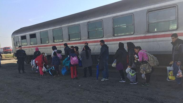 Flyktingar väntar på tåget som ska ta dem genom Kroatien vidare till Slovenien.