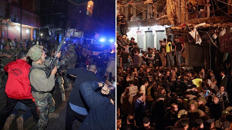 Säkerhetsstyrkor avfyrar varningsskott mot folkmassor som samlats efter explosioner i södra Beirut. Foto: TT.