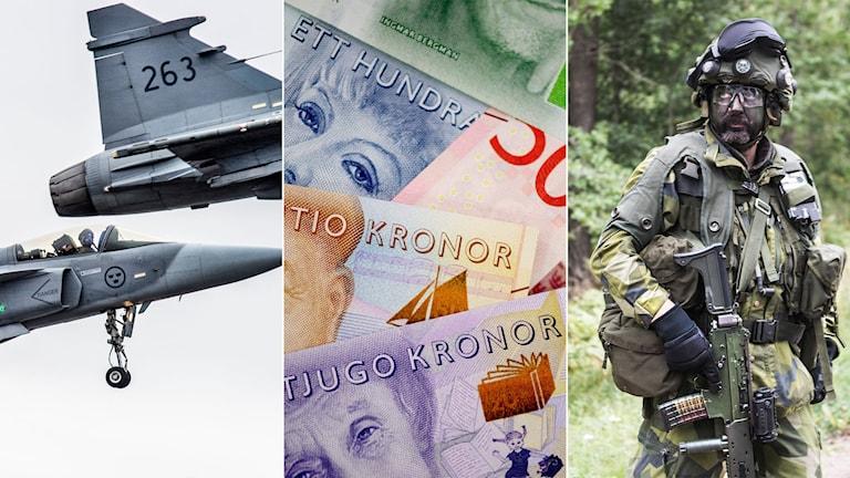 Jas Gripen-plan, pengar och en man i kamouflagekläder