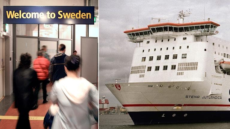 Resande som anländer till sverige t.h. En färja t.v. Foto: Ola Torkelsson/TT