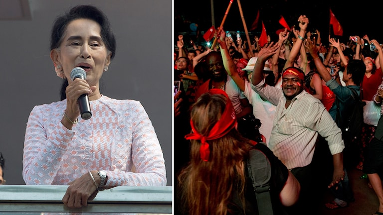 Aung San Suu Kyi och firande supportrar i Burma.
