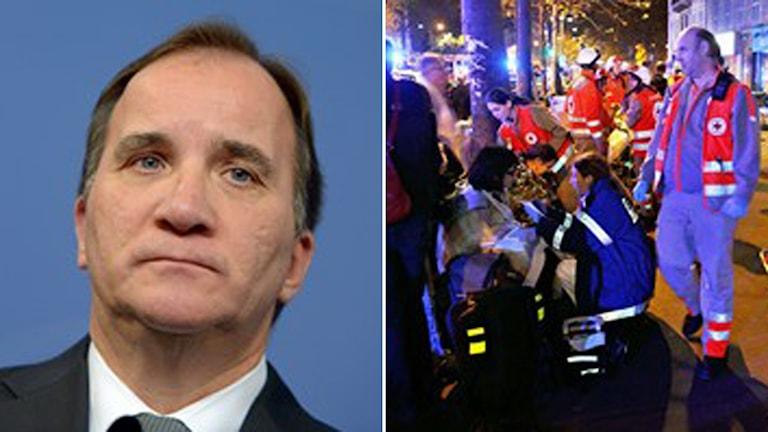 Statsministern Stefan Löfven kommenterar terrordåden i Paris Foto: TT
