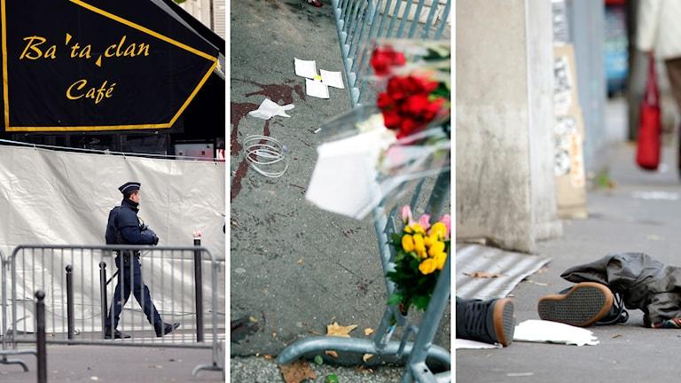 En polis patrullerar utanför konsertlokalen Bataclan. Blod på gatorna, och övergivna kläder. Foto: TT.