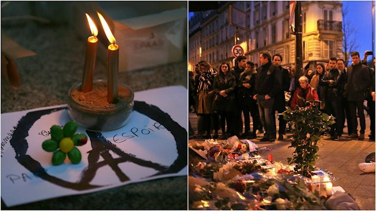 Människor samlas och sörjer i Paris under lördagen. Foto: TT.