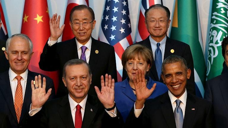 I Antalya i Turkiet pågår toppmötet mellan ledarna för världens ekonomiskt mäktigaste länder Foto: Berk Ozkan/AP