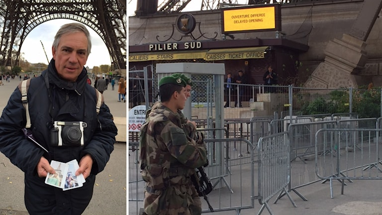 Hubert livnär sig på att ta polaroid-bilder på turister framför Eiffeltornet. Han tänker på sina barn som ofta går ut i kvarteren där attentaten ägde rum. Foto: Maria Sjöqvist/Sveriges Radio.