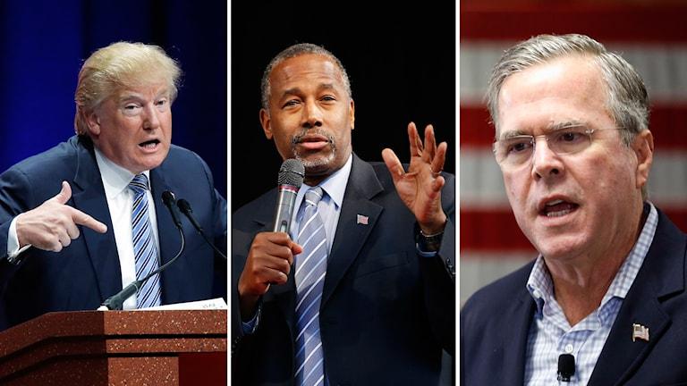 Donald Trump, Ben Cars, och Jeb Bush. Alla tre republikanska presidentkandidater. Foto: TT.
