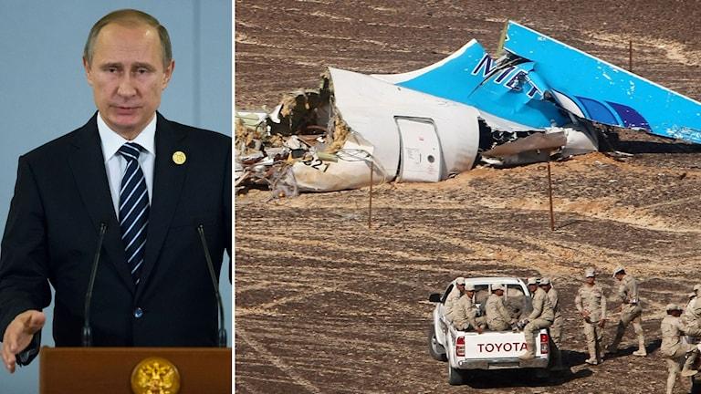 Ryske presidenten Vladimir Putin. Bild på en del av det kraschade ryska planet. Foto: TT. Montage: Sveriges Radio.