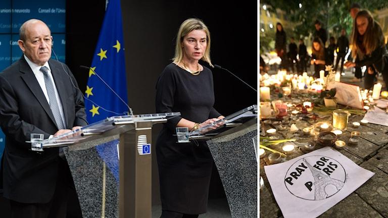 Frankrikes försvarsminister, Jean-Ybes Le Drian, samt EU:s utrikeschef, Federica Mogherini. Foto: TT.