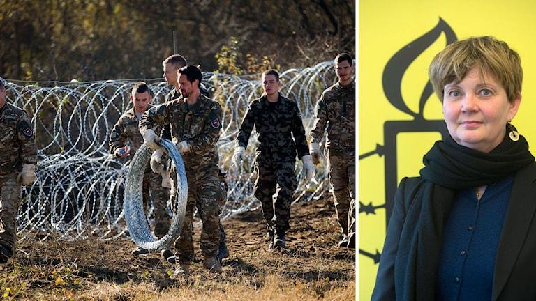 Madelaine Seidlitz på Amnesty International, samt slovenska soldater som upprättar stängsel mot migranter. Foto: TT.
