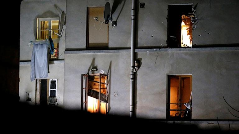 Huset där räden ägde rum. Foto: Michel Euler/TT.