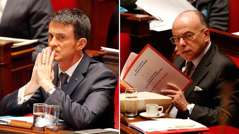 Vänster: Premiärministern Manuel Valls, höger: Inrikesministern Bernard Cazeneuve. Foto: TT.