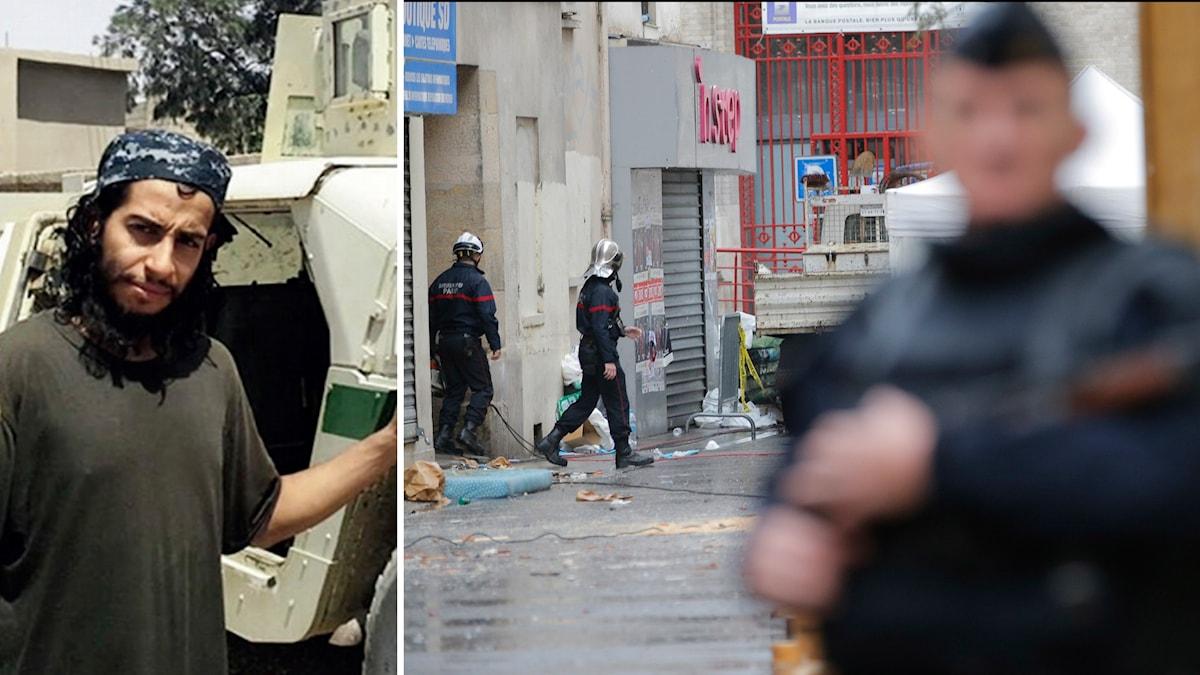 Abdelhamid Abaaoud, samt franska poliser efter räden där Abaaoud dödades. Foto: TT.