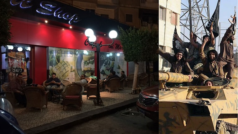 Bild från den bar där Ekots reporter träffade den blivande IS-krigaren. Bild från staden Raqqa dit rekryten ska resa. Foto: Cecilia Uddén och TT. Montage: Sveriges Radio.