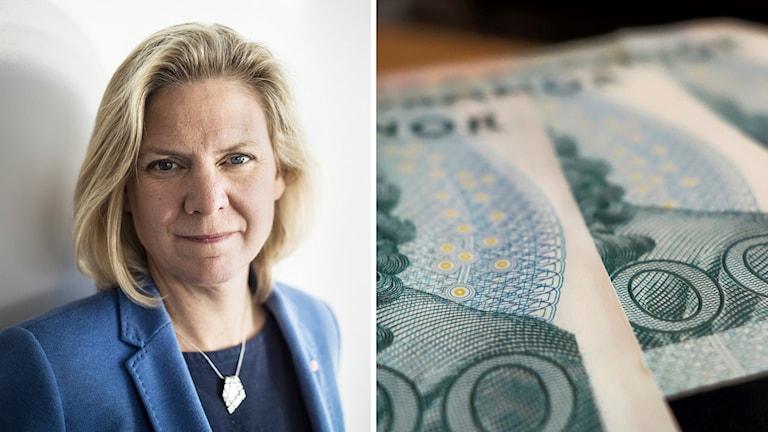 Finansministern och en bunt sedlar. Foto: Daniella Backlund/TT Hasse Holmberg/TT.