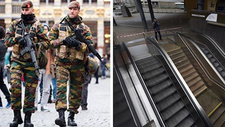 Tunnelbanan är stängd och militärer patrullerar i Bryssel efter terrorhot Foto: AFP