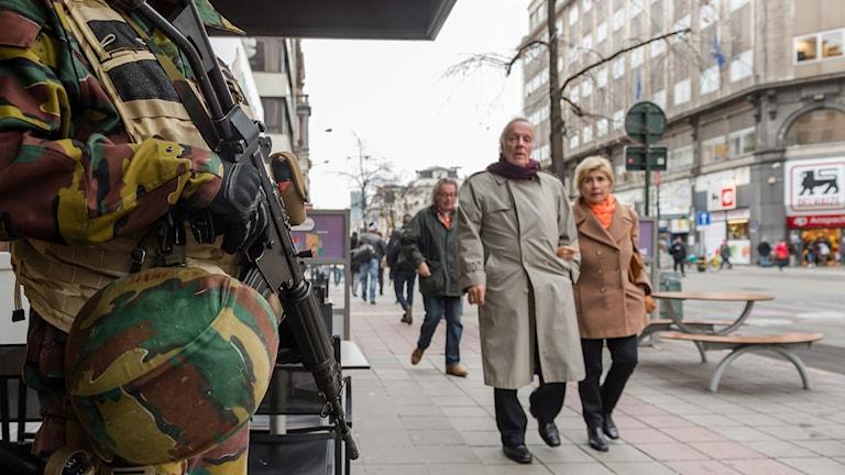 Beglisk militär i Bryssel. Foto: Geert Vanden Wijngaert/TT.