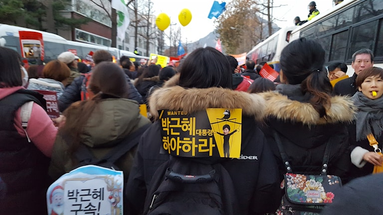 Demonstranter i Seoul.